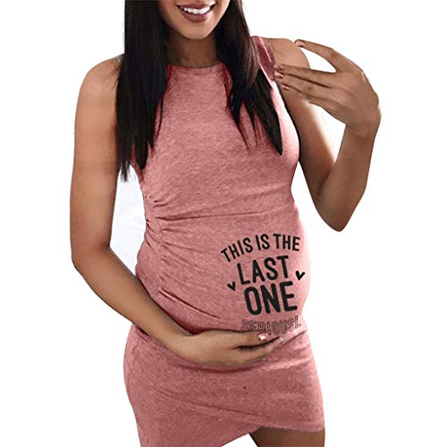 MISSWongg Frauen Mutterschaft Kleid Sleeveless Schwangerschaft Kleid Cartoon Brief Drucken Kleid Kreative Schwangere Frauen Kleider Stillkleid Schwangerschaftskleid