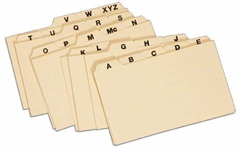 Globe-Weis Manila Card Index Guides, 1/5 Cut, 3 x 5 Inches, A-Z Index, (3255)