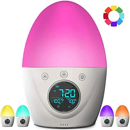 KIOio Reloj con Alarma para niños, Reloj con luz Ambiental de Linterna, 3 Modos de Reloj con Alarma, 5 Tipos de Sonido Natural, USB Recargable
