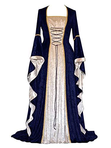 ZhuiKunA Damen Retro Mittelalter Renaissance Kostüm,Lange Ärmel Party Kleid Marineblau ()