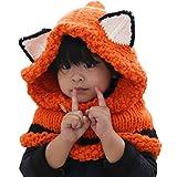Chinashow Nette Mädchen-Jungen-Baby-Warmer Knit-Hut-Winter-strickende Hüte strickte mit Kapuze Schal-Mützen, Fox-Orange