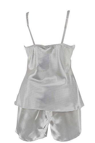 adonia mode Satin Shorty Pyjama Dessous Schwarz Weiss , Gr 44/46 Schwarz Weiss