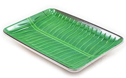AuthenticAsia Asian Motif Banana Leaf Melamine Dinner Plates