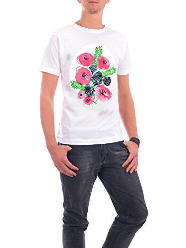 """Design T-Shirt Männer Continental Cotton """"Rose Garden Wildflowers"""" - stylisches Shirt Floral Natur Fashion von Sarah Plaumann Weiß"""