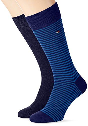 Tommy Hilfiger Th Men Small Stripe Sock 2p, Calze Uomo, Blau (Blue Depths 180), 43 (taglia Produttore: 43)