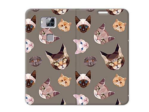etuo Handyhülle für Huawei GX8 - Hülle, Handy Flip Case - Geometrische Katzen