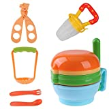 #8: Zibuyu 12Pcs/Set Baby Food Grinding Bowl Supplement Scissors Spoon Fruit Processor