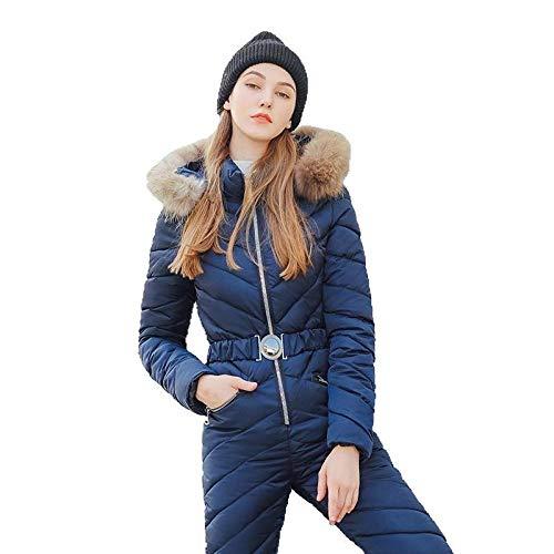 Mono de esquí de una Pieza para Mujer Chaqueta de Snowboard Transpirable Conjuntos de pantalón de esquí Trajes de Nieve al Aire Libre @ Blue_XXL