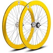 Juego de Ruedas Fixie PERFIL 57mm (amarillo)