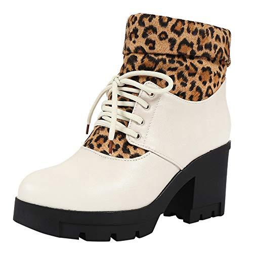 Damen Stiefel mit niedrigem Absatz SHOBDW Frauen Winter Mode Warme Leopard Drucken Solid Patchwork Schnür Schneestiefel Bequemes Künstliche Pelz Plüsch Niedrig Stiefel Kunstleder Lederschuhe