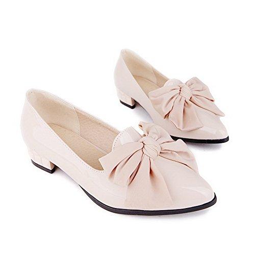 AllhqFashion Femme Couleur Unie Pu Cuir à Talon Bas Pointu Tire Chaussures Légeres Abricot