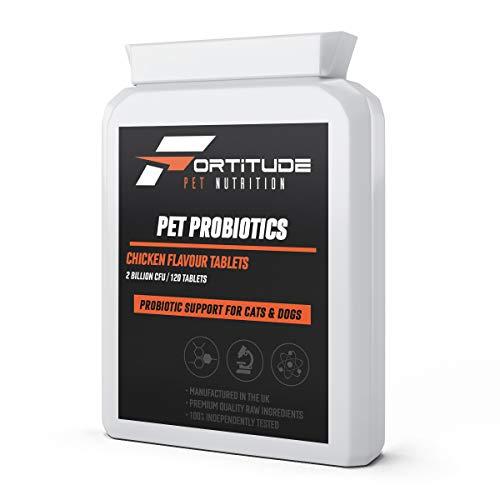 Haustier-Probiotika für Hunde & Katzen | Probiotische Ergänzung mit Verdauungsenzymen für Haustiere 120 Tabletten mit Hühnchenaroma