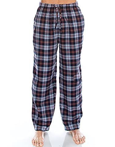 TINFL Men's Plaid Check Soft 100% Cotton Flannel Lounge Pants PM-01-Navy-L