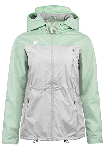 Blend She Briddi Damen Regenjacke Windbreaker Übergangsjacke Mit Kapuze und Color-Block-Optik, Größe:M, Farbe:Subtle Green (23011) (Blend Mantel)