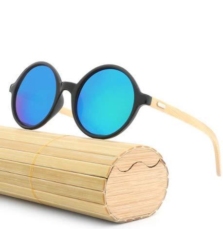 WENZHEN Runde Sonnenbrille aus Holzrahmen mit hellem Aquamarin
