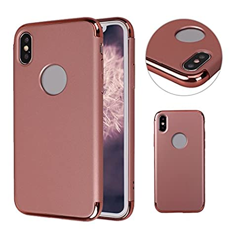 Coque iPhone X, iPhone 10 Etui Mat, MeiC Power 3 en 1 Détachable Ultra Mince Plastique Dure de PC Retour Bumper Couverture Cas de Cadre à Galvanoplastie avec Protection Double Caméra pour iPhone X (5,8 Pouces) Antichoc Housse Anti Scratch Case Cover Or Rose