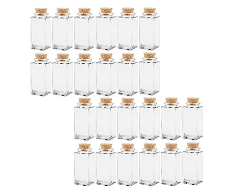 Gewürzgläser Set mit Press-korken | 24 teilig | Füllmenge 100 ml | Cub Eckig Hochwertiges Glas | Glasdose Glasgefäß ideal für Salz Pfeffer Sonnenblumenkerne kürbiskerne Kandis Bonbons