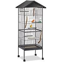 Relaxdays Vogelvoliere, Wellensittiche, Kanarien, Papageien, Dach, Rollen, Ständer, H x B x T: 155 x 64 x 66 cm, schwarz