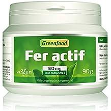 Greenfood – Fer actif, 50 mg, à des doses élevées, 180 comprimés, haute biodisponibilité, bien toléré, végétalien – importants pour la formation du sang, de l'énergie et du système immunitaire. SANS additifs artificiels. Sans OGM.