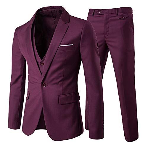 Slim Fit 3-Teilig Business Herrenanzug ein Knopf Smoking,Rot, Gr. M (Für Anzug Männer Roter)