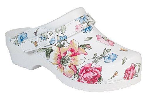 AWC Damen Clog Deko Line White Flower mit Absatz Gr. 41