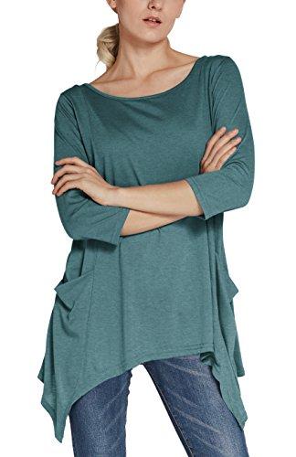 Urban GoCo Donna Casual Maglietta con Manica a 3/4 Tunica Camicetta Lunga con Tasche Plus Size Blu indaco