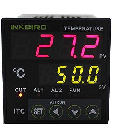 Inkbird ITC-100VH Dual Digital PID Temperatura Controlador Doble Relé ,Refrigeración y Calefacción Termopar Termostato Incubadora,Coche,Acuario,Cocina