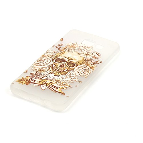 CaseHome Samsung Galaxy Core Prime G360F Luminous Hülle (Mit Frie Displayschutzfolie) Leuchtende Silikone Rückhülle Für iPhone 6 6s Plus 5.5 Zoll Zoll Silikon Etui Handy Hülle Weiche Transparente Lumi Gold Schädel-Rosen