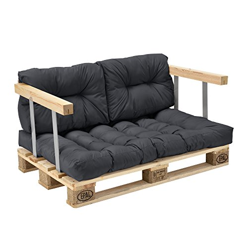 [en.casa] Euro Paletten-Sofa – DIY Möbel – Indoor Sofa mit Paletten-Kissen / Ideal für Wohnzimmer – Wintergarten (1 x Sitzauflage und 2 x Rückenkissen) Dunkelgrau - 5
