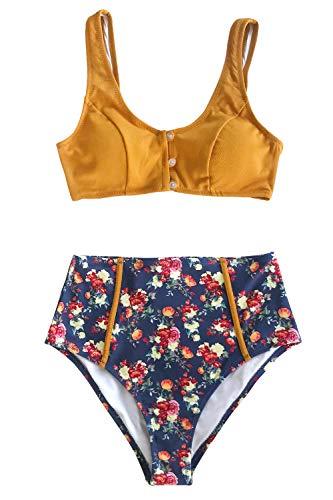 CUPSHE Karamellknöpfe High Waist Blumen Bikini, L (Polyester, Damen Chinlon Badeanzug)