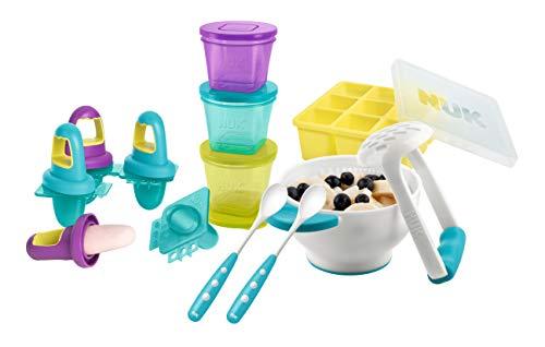 NUK Frischhaltedose Fresh Foods-Set, mit je 1x Pürierset, Eisförmchen, Gefrierform, 2x gratis Futterlöffel Portion Utensil Set