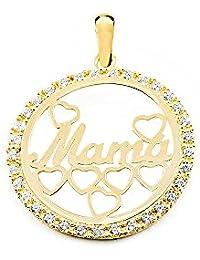 1bb0a8d42c52 Colgante de Oro Amarillo Mama en circon con Corazones