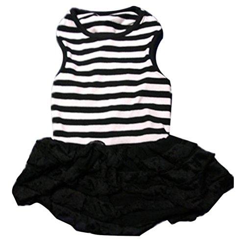 Haustier Hund Prinzessin Kleid, Hmeng Mode Hund Streifen T-Shirt Rock Bekleidung Puppy Kostüm (XS, Schwarz)