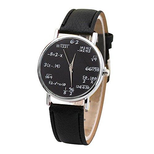 Sin reloj Scale Belt Ladies, Magiyard Reloj matemático de la ecuación (negro)
