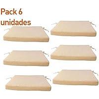 Pack 6 cojines para sillas de jardín color beige | Tamaño 44x44x5 cm | Repelente al agua | Desenfundable | Portes gratis