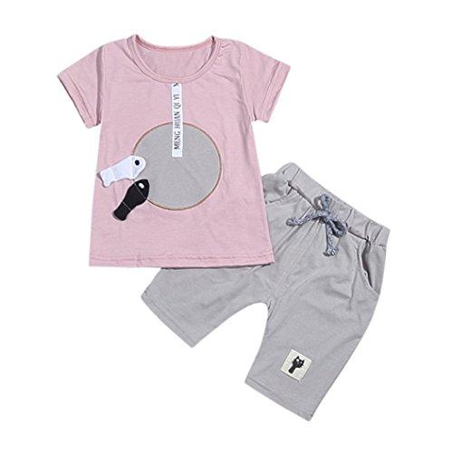 Tefamore 2pcs Kleinkind Baby Girls Boys Cartoon 3D Fish Tops T-Shirt Hosen Outfits Set Rosa (6 M)