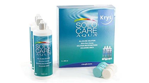 Solocare Aqua Pflegemittel für weiche Kontaktlinsen, 3 x 360 ml
