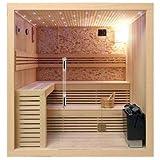 Desineo Cabina di Sauna in Legno Canadese 220x 200x 210cm pareti in Vetro 8mm Pietre Naturali
