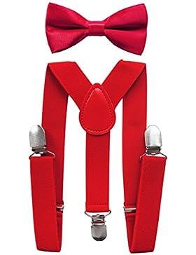 axy Hochwertige Kinder Hosenträger-Y Form mit Fliege- 3 Clips EXTRA STARK-Uni Farben