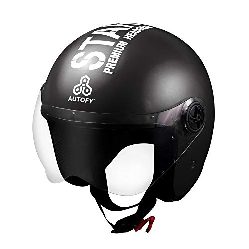 Autofy TROUPER Open Face Helmet (58cm - M, Black)