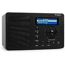 Auna IR-130 Radio de internet WIFI Negro (Streaming, 8000+ emisoras, transmisión desde ordenadores, mando a distancia, despertador, pantalla LCD, antideslizante)