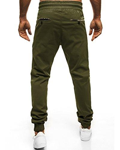 MODCHOK Herren Jogginghose Chino Cargo Jogging Hose Freizeithose Sweatpants Fit Armeegrün