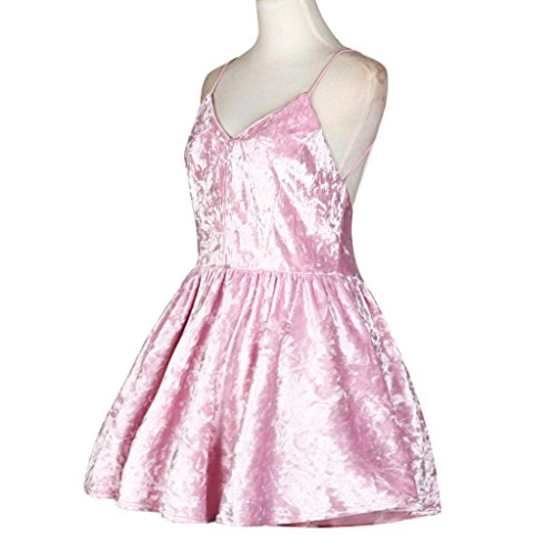 Oyedens Damen FrüHling Neu Bandage Samt Abendliche Feier äRmellos Minikleid Rosa