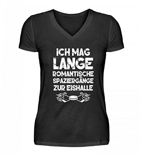 Shirtee Hochwertiges V-Neck Damenshirt - Ich Mag Lange Romantische Spaziergänge zur Eishalle Geschenk Mann Frau Eishokey