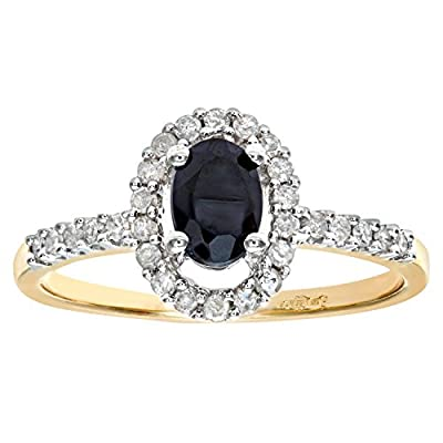 Naava 9ct Yellow Gold Ladies Diamond and Sapphire Ring