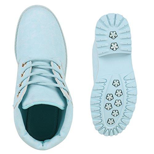 UNISEX Damen Herren Stiefeletten Worker Boots Outdoorschuhe Schnürstiefel Hellblau