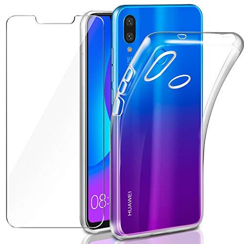 91003097fd0 Leathlux Funda + Cristal para Huawei P Smart Plus, Transparente Huawei P  Smart Plus TPU Silicona [Funda+Vidrio Templado] Protector de Pantalla  Flexible ...