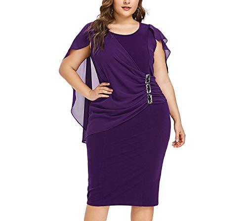 smile-coco Damen Kleid, Knielang, ärmellos, U-Ausschnitt, mit Strass-Overlay Gr. XXXXXL, Purple Iris -