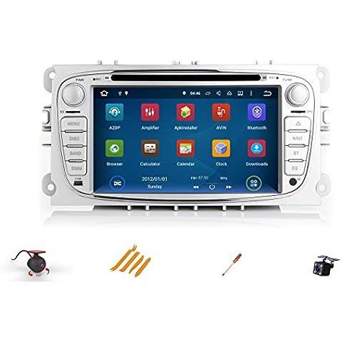 XSD Android 5.1 Lollipop Quad Core 1024 * 600 de resolución de radio del coche 2 din estéreo de radio unidad principal / coche para la cámara posterior libre DVR de vídeo Ford Focus Mondeo del GPS de la navegación del coche CD DVD 1080P SWC DVR Espejo de la cámara trasera de conexión WIFI + Bluetooth + tarjeta de 8G + tarjeta SD 8G + MIC + herramientas + alfombra antideslizante para móviles