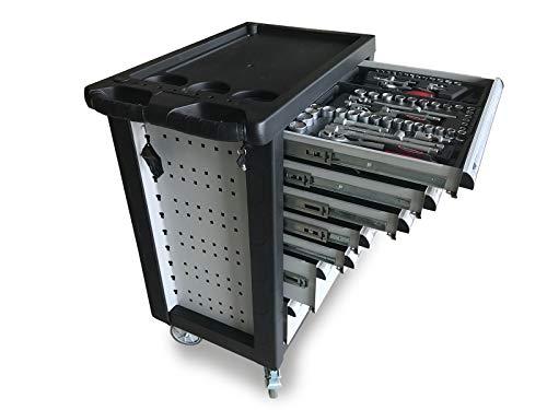 Home Deluxe - Werkstattwagen Grau - 5 gefüllte Schubladen mit Schloss zur zentralverriegelung - Fahrbar mit 4 Rollen und Feststellbremse - inkl. Werkzeug